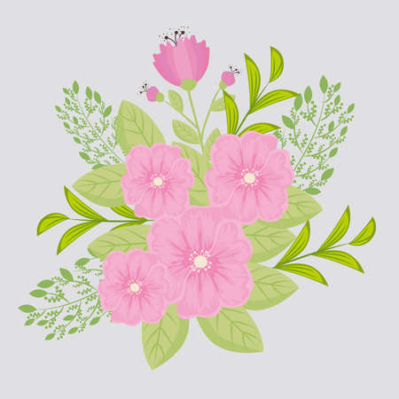 flowers pink color, branches with leaves, nature decoration vector illustration design Иллюстрация