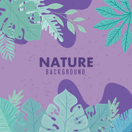 nature background, branches with tropical nature leaves of pastel color vector illustration design