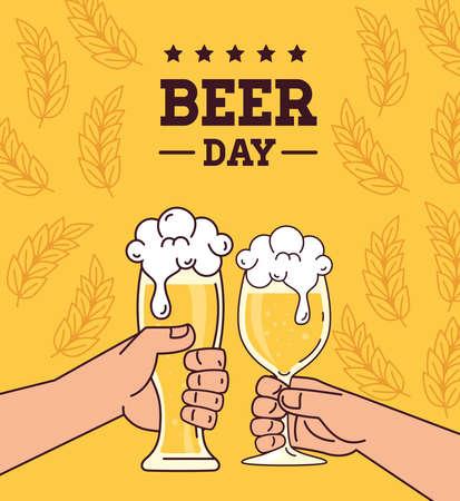 international beer day, august, hands cheers beers vector illustration design