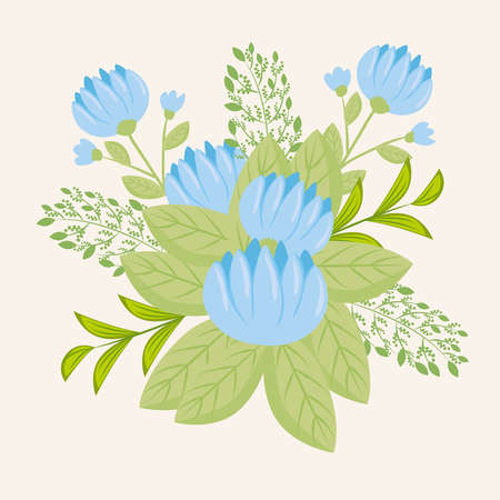 flowers blue color, branches with leaves, nature decoration vector illustration design