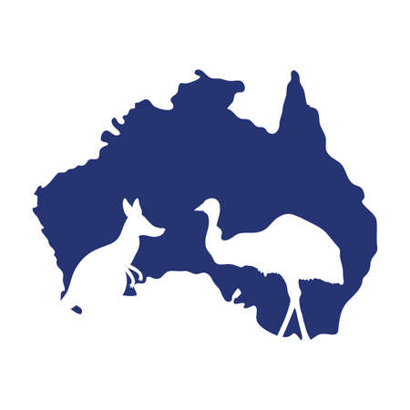 australia day celebration with silhouette animals and map vector illustration