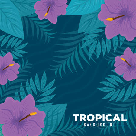 tropical background with flowers purple color and tropical plants, decoration with flowers and tropical leaves vector illustration design