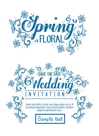 set cards, wedding invitation and spring floral card with flowers and leaves decoration vector illustration design Illustration