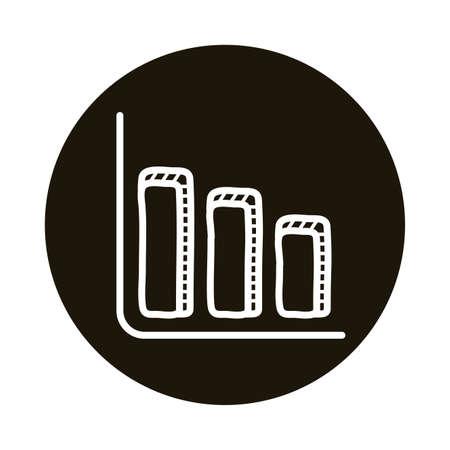 infographic statistics bars doodle block style icon vector illustration design