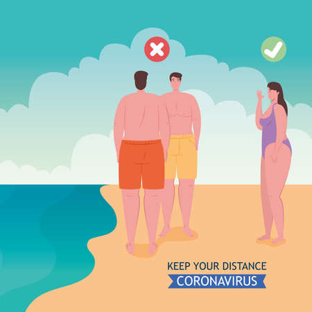 social distancing done in the wrong and correct way on the beach, people keep distance, new normal summer beach concept after coronavirus or covid 19 vector illustration design