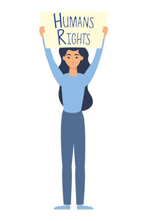 young woman with human rights label character vector illustration design 向量圖像