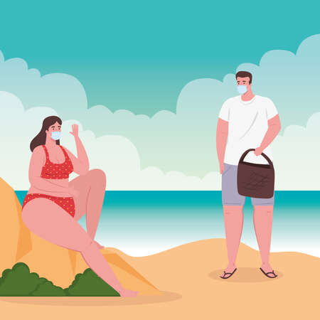 social distancing on the beach, couple wearing medical mask, keep distance, new normal summer beach concept after coronavirus or covid 19 vector illustration design Ilustrace