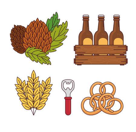 set, seeds hop, beers set in wooden box, spikes, beer opener and pretzel vector illustration design