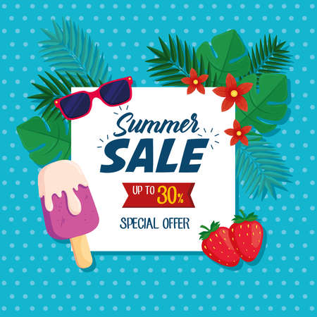 summer sale banner, discount poster with sunglasses, ice cream, strawberries, tropical leaves, flower, invitation for shopping with summer sale up to thirty percent vector illustration