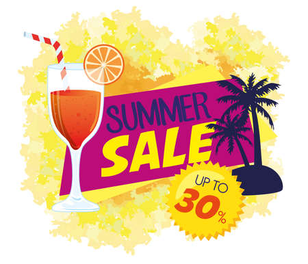 summer sale banner, season discount poster with palms silhouette, cocktail, invitation for shopping with summer sale up to thirty percent, special offer card vector illustration 矢量图像