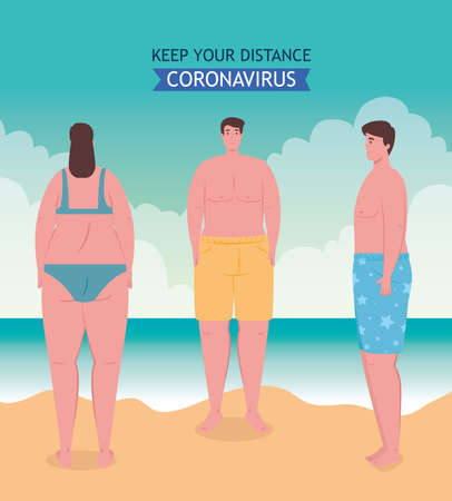 social distancing on the beach, young people keep distance, new normal summer beach concept after coronavirus or covid 19 vector illustration design
