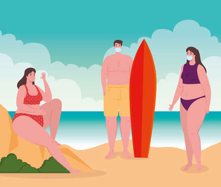 social distancing on the beach, people wearing medical mask keep distance, new normal summer beach concept after coronavirus or covid 19 vector illustration design Ilustrace