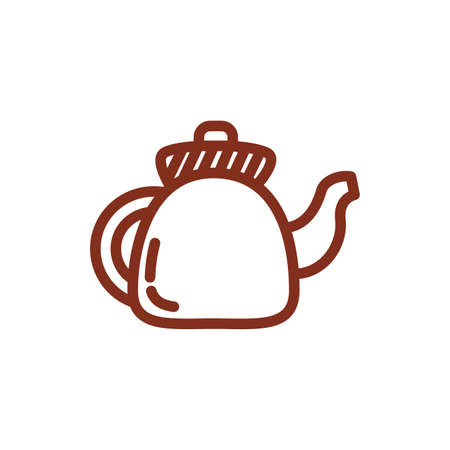 coffee in teapot drink line style icon vector illustration design 向量圖像