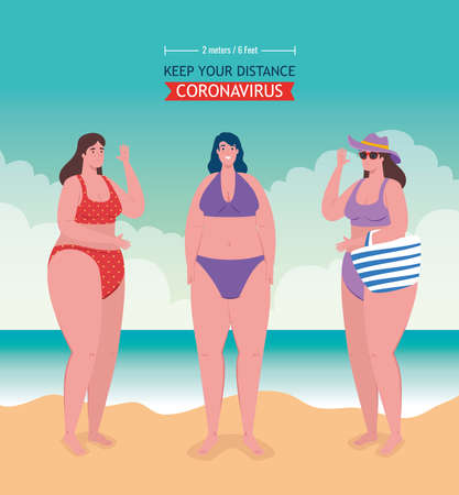 social distancing on the beach, women keep distance two meters or six feet, new normal summer beach concept after coronavirus or covid 19 vector illustration design