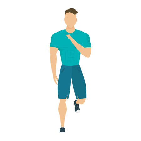 young man athlete running character healthy lifestyle vector illustration design