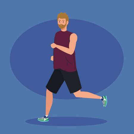man marathoner running sportive, man run competition or marathon race poster, healthy lifestyle and sport vector illustration design Stock Illustratie