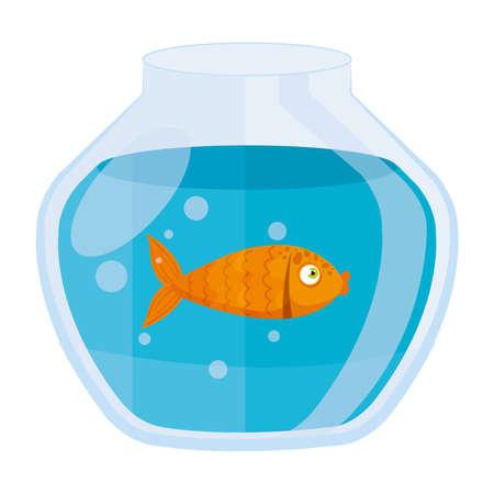 aquarium goldfish, with water, aquarium marine pet vector illustration design Vetores