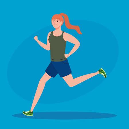 woman marathoner running sportive, female in run competition or marathon race poster, healthy lifestyle and sport illustration design Stock Illustratie