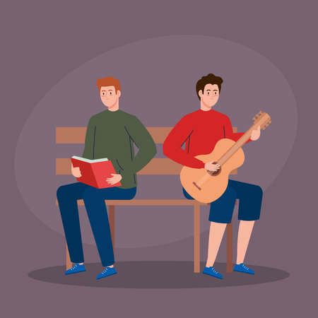 men sitting in park chair, young man playing guitar and man reading book vector illustration design