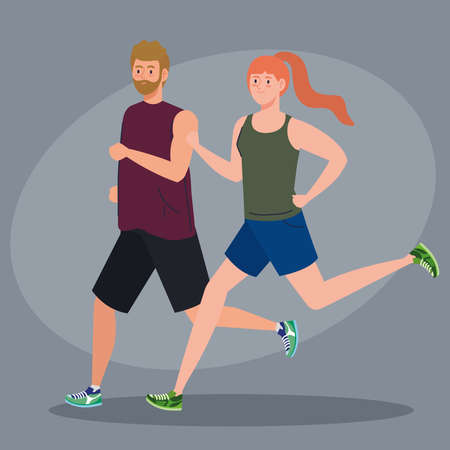 couple marathoner running sportive, man and woman run competition or marathon race poster, healthy lifestyle and sport vector illustration design
