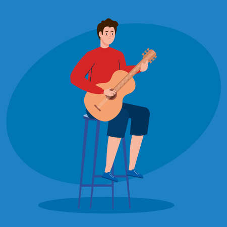 young man playing guitar sitting a chair vector illustration design
