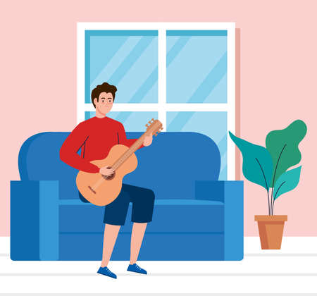young man playing guitar sitting a couch in living room vector illustration design