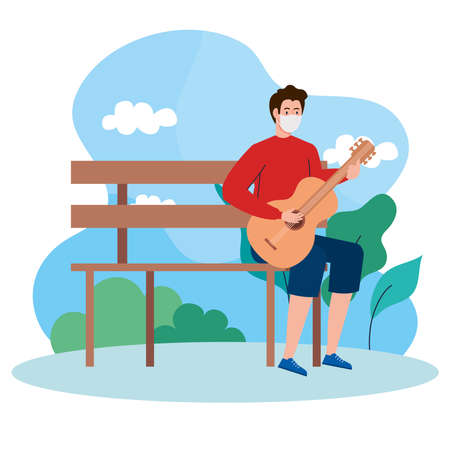young man wearing medical mask, playing guitar sitting a park chair vector illustration design