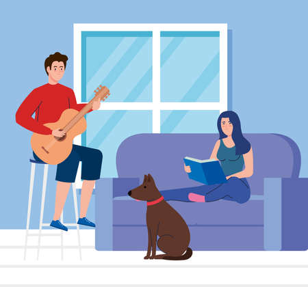 couple in living room, woman reading book with man playing guitar vector illustration design