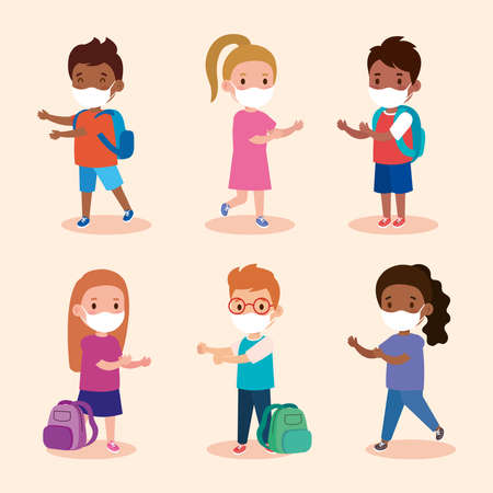 cute group children wearing medical mask to prevent coronavirus covid 19, students children wearing protective medical mask vector illustration design