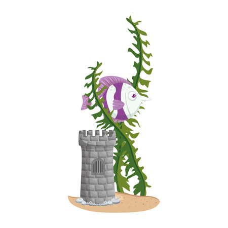 castle tower aquarium with fish and seaweed on white background vector illustration design Illusztráció