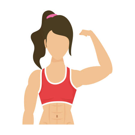 young strong woman athlete character healthy lifestyle vector illustration design
