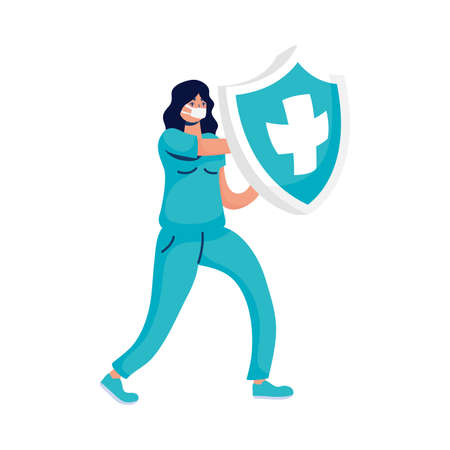 female doctor with shield insurance vector illustration design Ilustracja