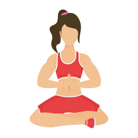 young woman athlete practicing yoga vector illustration design