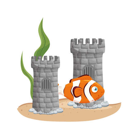 castle tower aquarium with fish and seaweed on white background vector illustration design Ilustrace