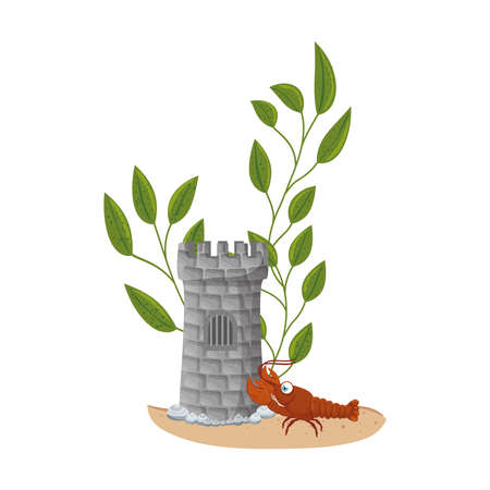 castle tower aquarium with lobster and seaweed on white background vector illustration design