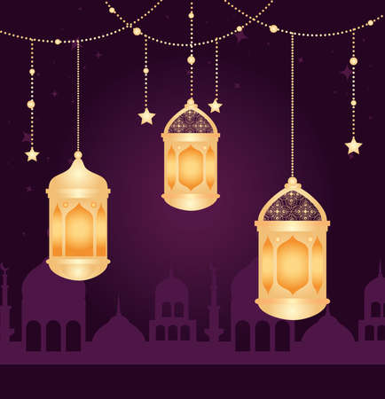 eid al adha mubarak, happy sacrifice feast, with lanterns hanging, silhouette arabia city and stars hanging vector illustration design