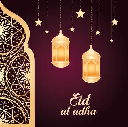 eid al adha mubarak, happy sacrifice feast, with arab window, lanterns hanging and stars hanging vector illustration design