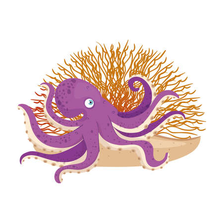 sea underwater life, octopus with coral on white background vector illustration design