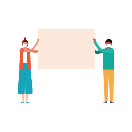 Woman and man with medical mask and banner board design, Manifestation protest and demonstration theme Vector illustration