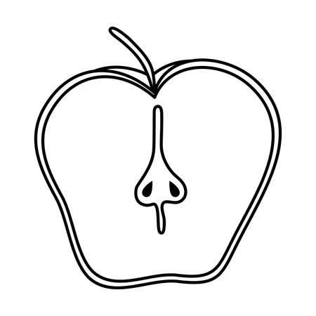 half apple fresh fruit isolated icon vector illustration design 일러스트
