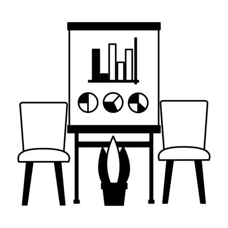 chairs board report and plant office workplace vector illustration