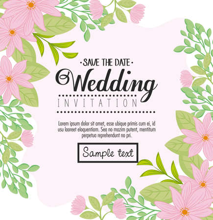 greeting card with flowers pink color and leaves, wedding invitation with flowers pink color and leaves decoration vector illustration design Stock Illustratie