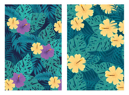 set of tropical backgrounds, flowers purple and yellow colors with tropical plants, decoration with flowers and tropical leaves vector illustration design
