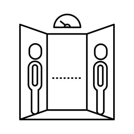 humans distance social in elevator line style icon vector illustration design