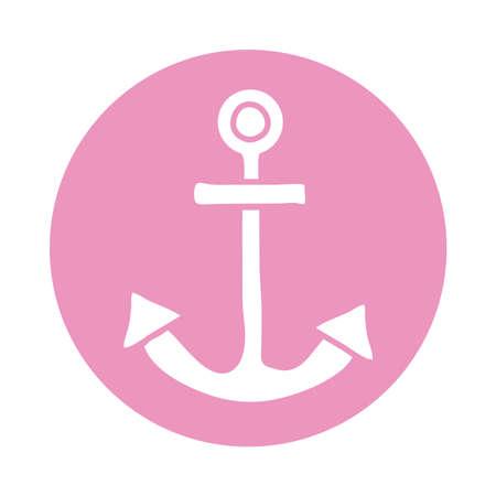 anchor marine block icon vector illustration design Vectores