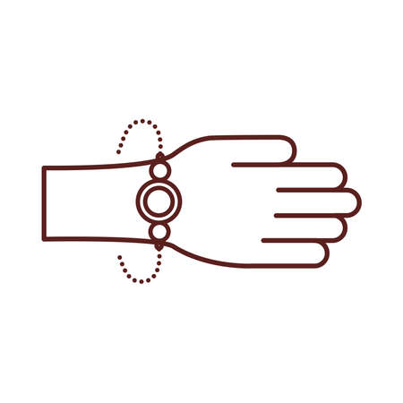happy raksha bandhan celebration with hand using wristband line style vector illustration design 写真素材 - 151146646