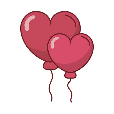 happy valentines day heart balloons helium vector illustration design