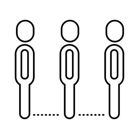 group of humans distance social line style vector illustration design