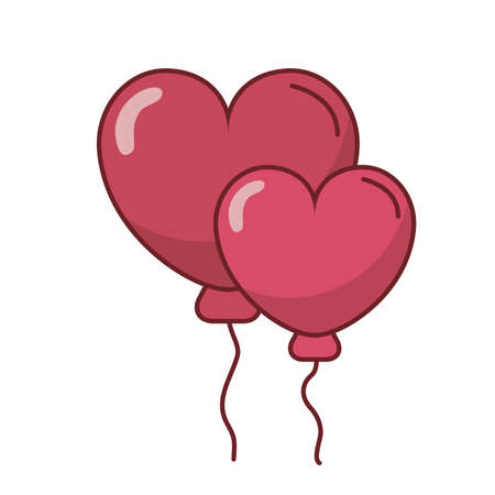 Hearts balloons design of love passion and romantic theme Vector illustration