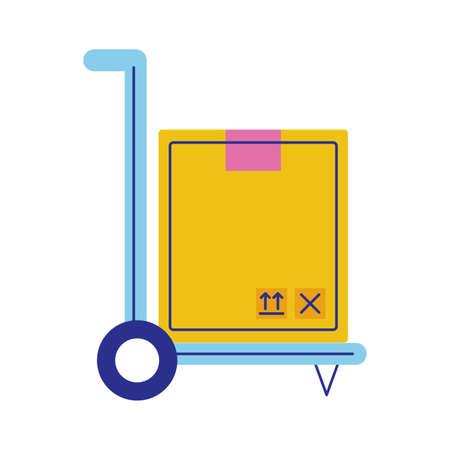 cart with box carton postal service flat style vector illustration design Illusztráció